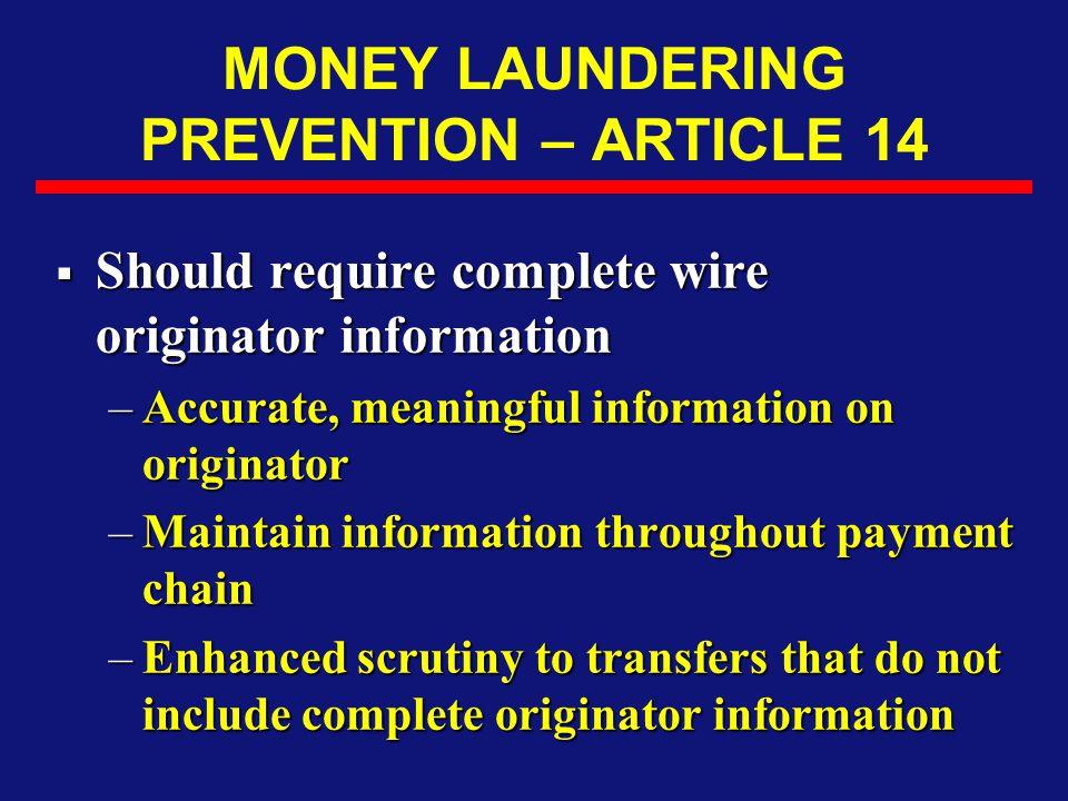 MONEY LAUNDERING PREVENTION – ARTICLE 14