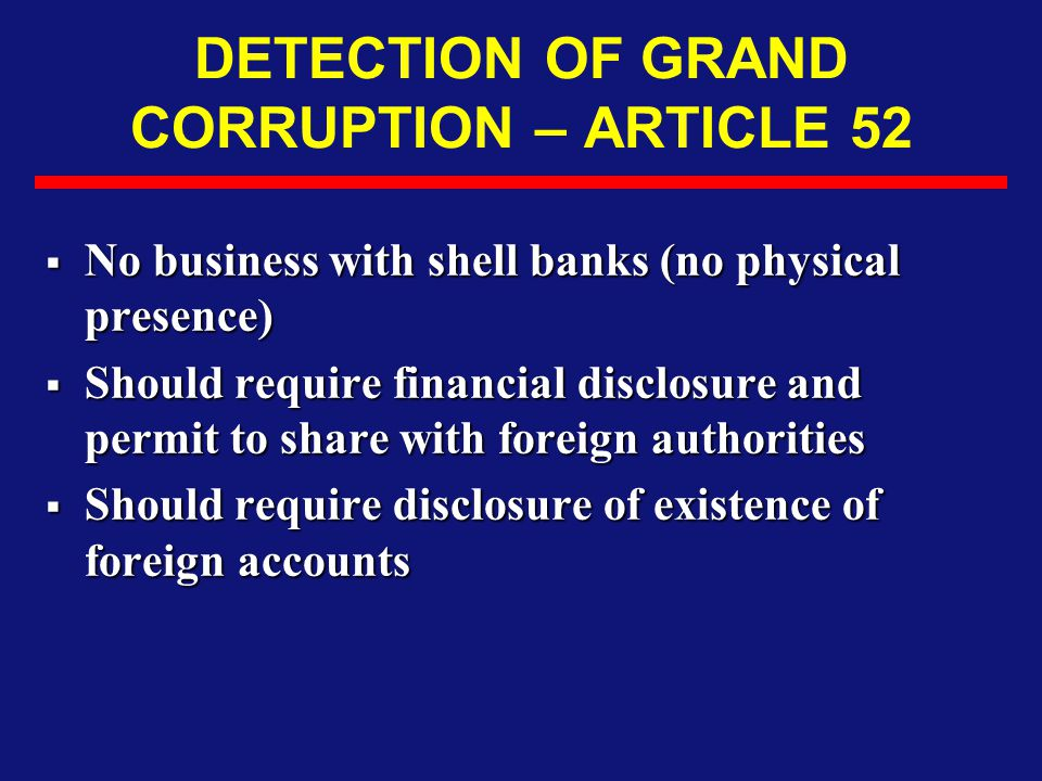 DETECTION OF GRAND CORRUPTION – ARTICLE 52