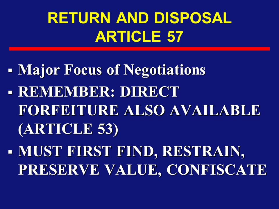 RETURN AND DISPOSAL ARTICLE 57