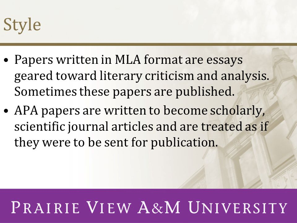 Style Papers written in MLA format are essays geared toward literary criticism and analysis. Sometimes these papers are published.