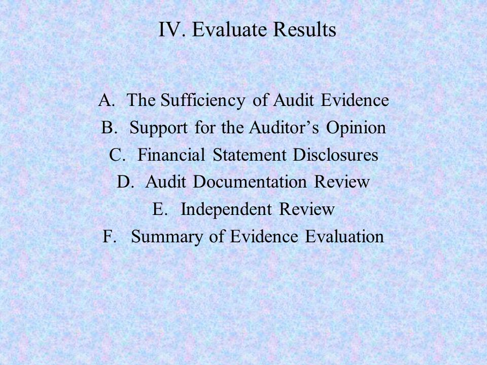 IV. Evaluate Results The Sufficiency of Audit Evidence