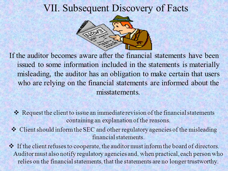 VII. Subsequent Discovery of Facts