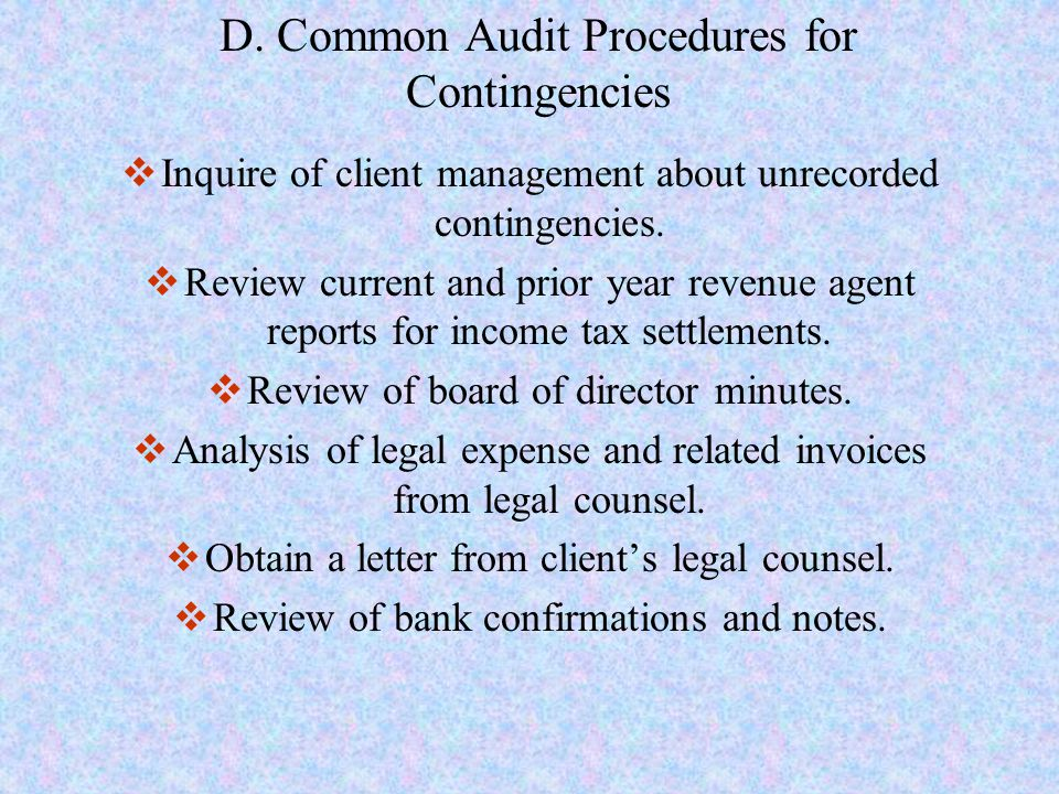 D. Common Audit Procedures for Contingencies