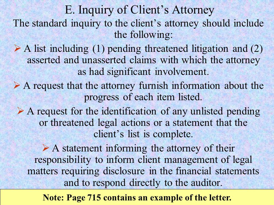 E. Inquiry of Client's Attorney