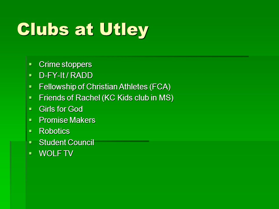 Clubs at Utley Crime stoppers D-FY-It / RADD
