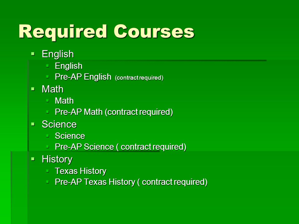Required Courses English Math Science History