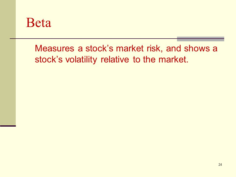 Beta Measures a stock's market risk, and shows a stock's volatility relative to the market.