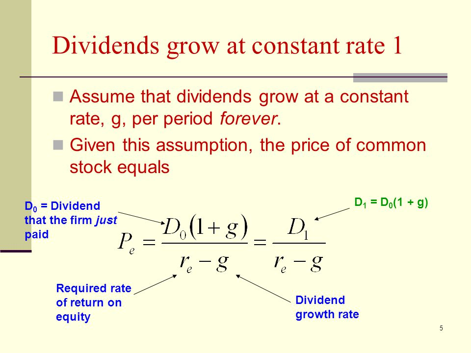 Dividends grow at constant rate 1