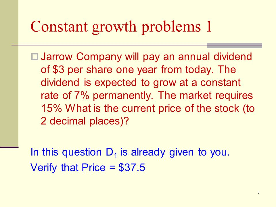 Constant growth problems 1