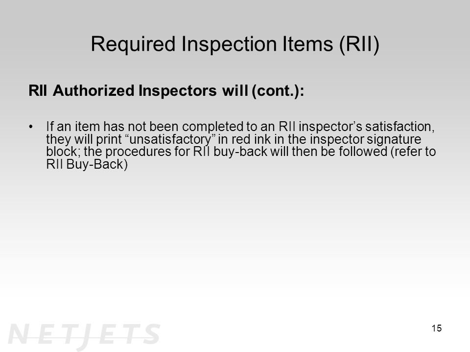Required Inspection Items (RII)