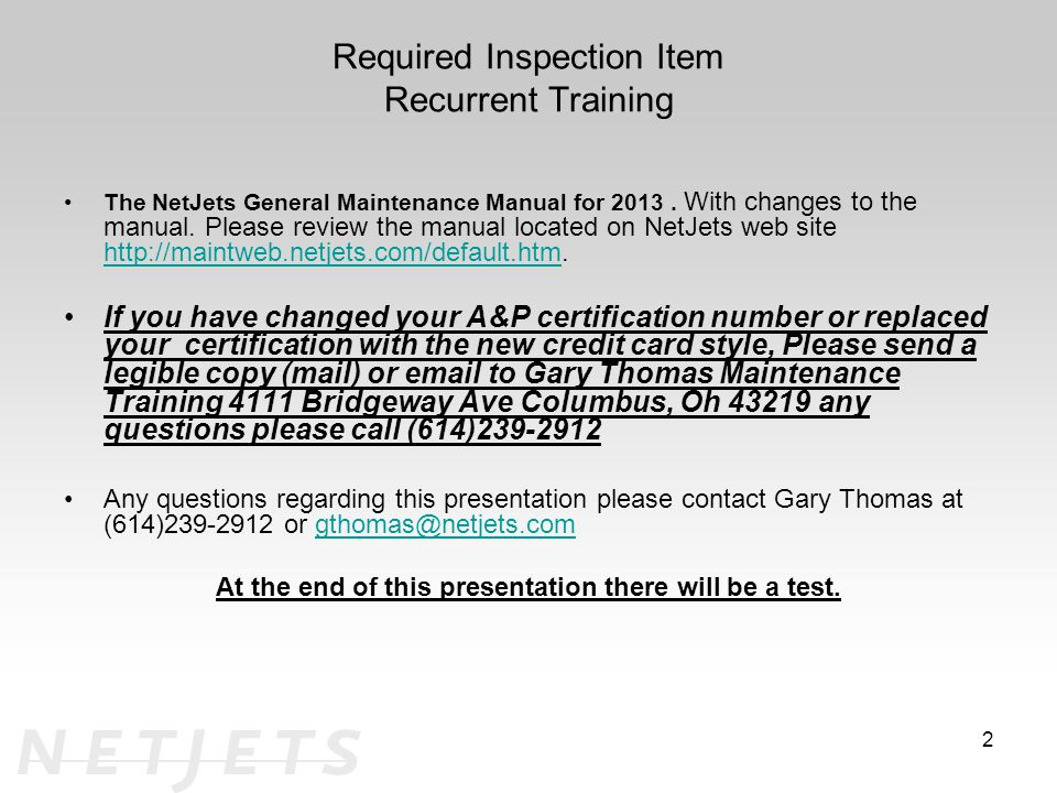 Required Inspection Item Recurrent Training