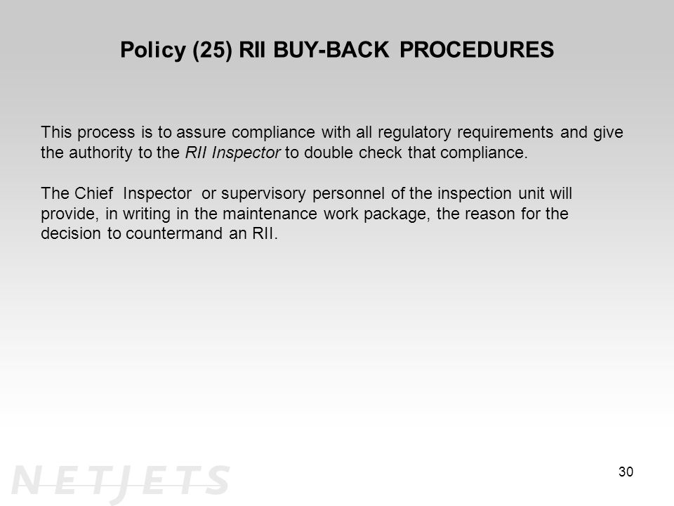 Policy (25) RII BUY-BACK PROCEDURES