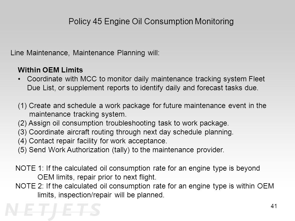 Policy 45 Engine Oil Consumption Monitoring