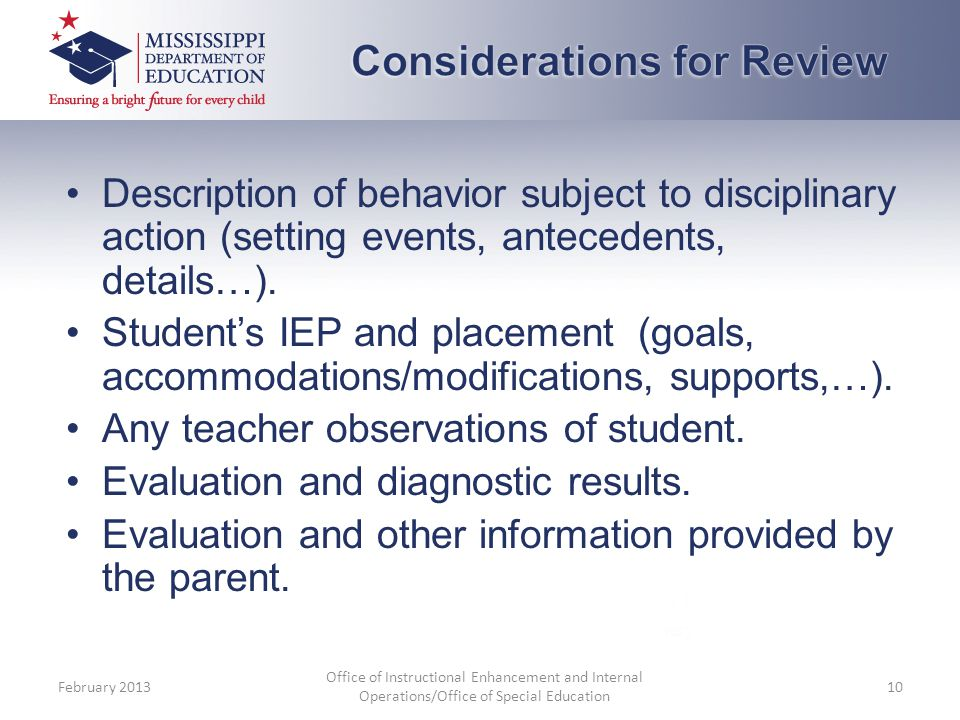 Considerations for Review