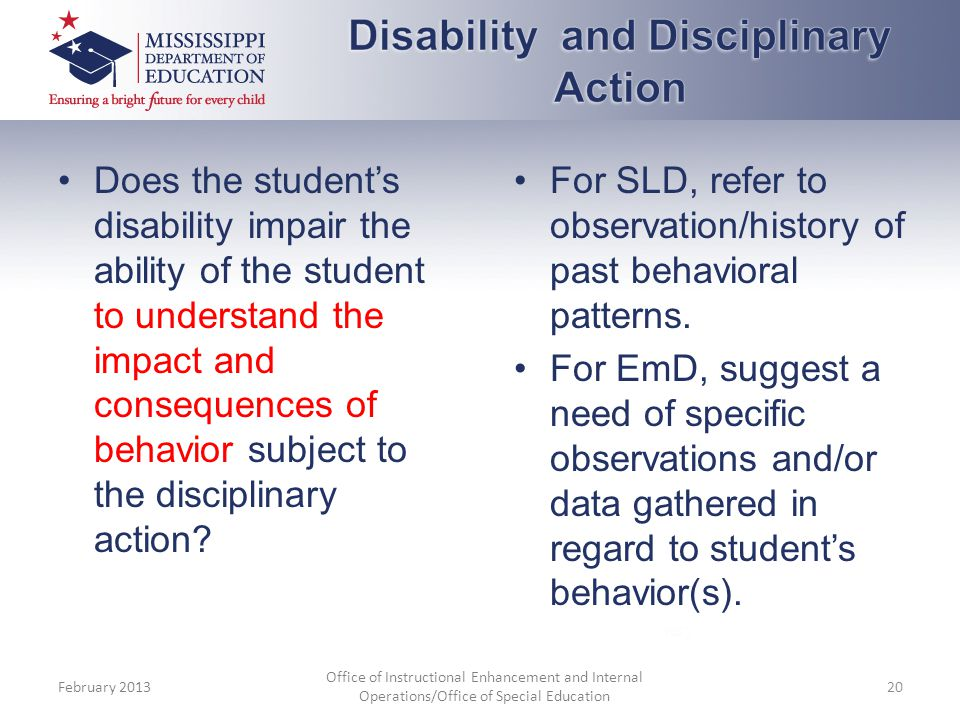 Disability and Disciplinary Action