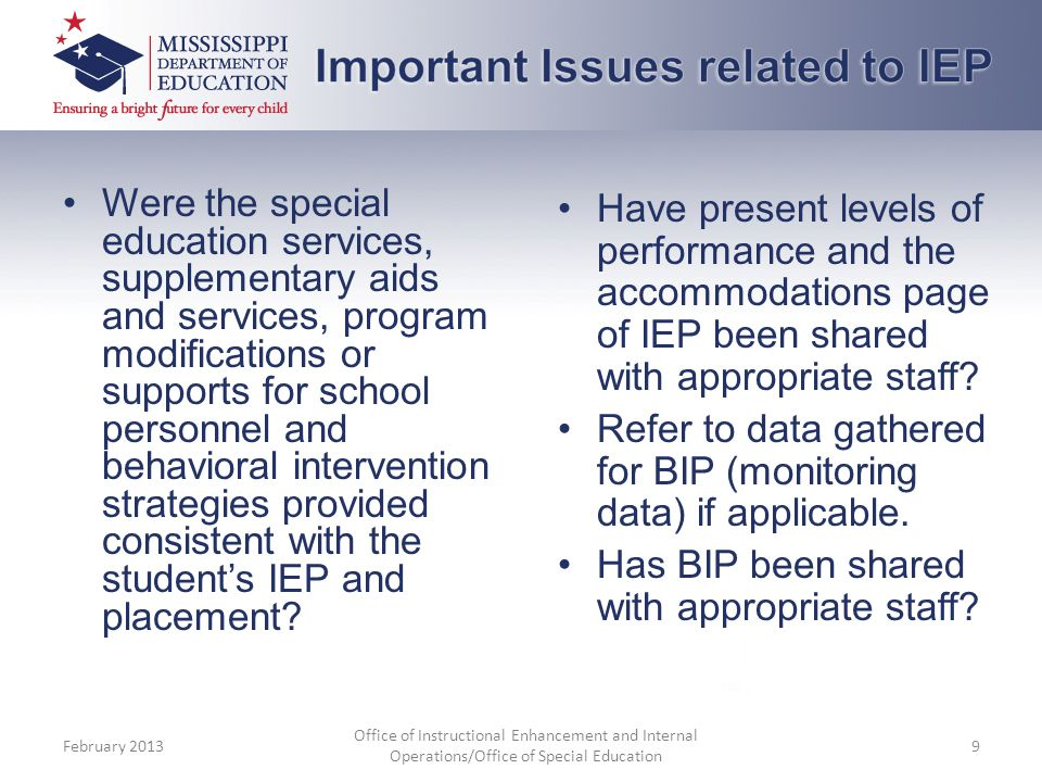 Important Issues related to IEP