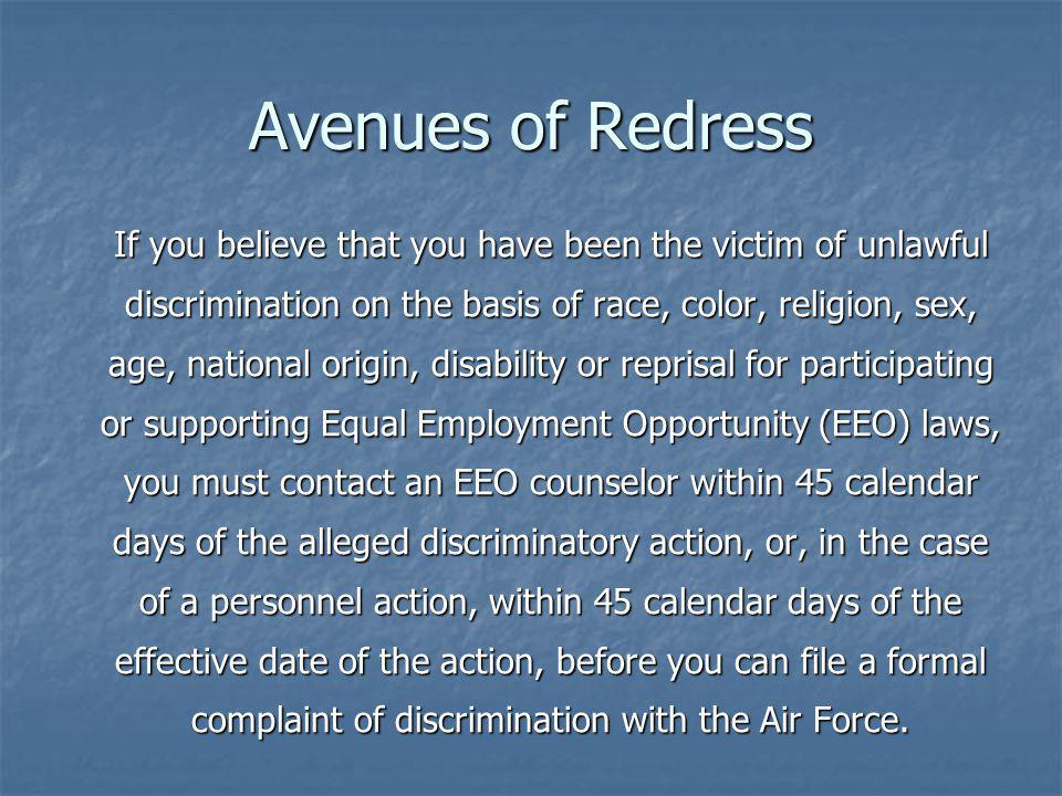 Avenues of Redress