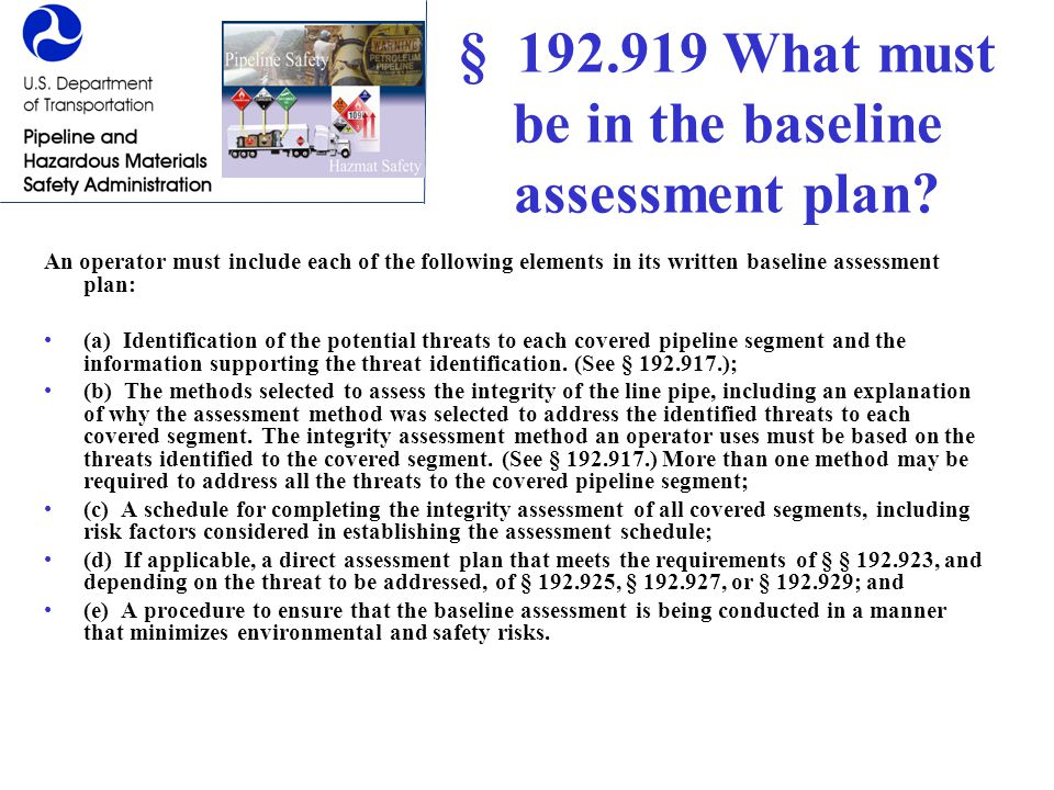 § 192.919 What must be in the baseline assessment plan