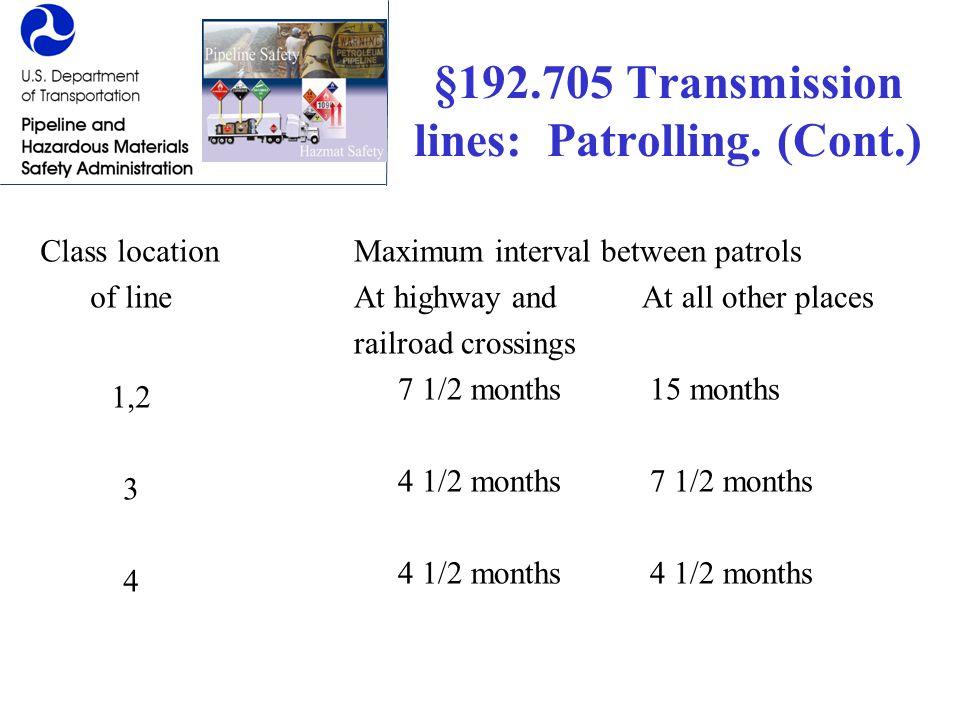 §192.705 Transmission lines: Patrolling. (Cont.)
