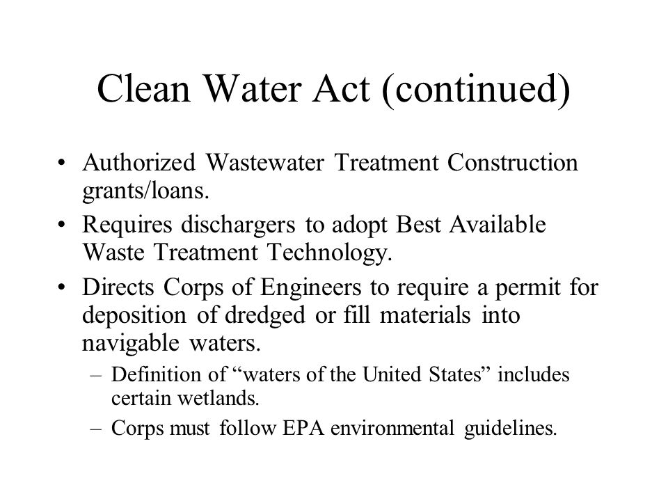 Clean Water Act (continued)