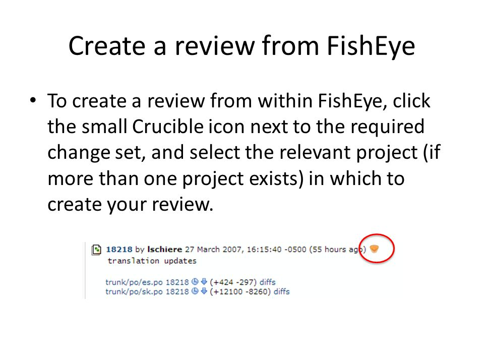 Create a review from FishEye