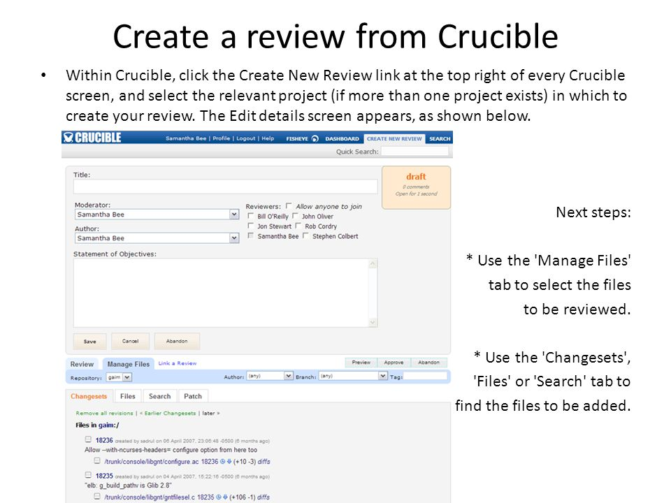 Create a review from Crucible
