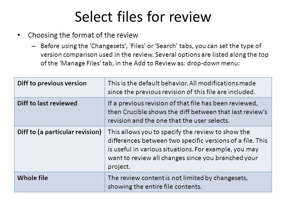 Select files for review