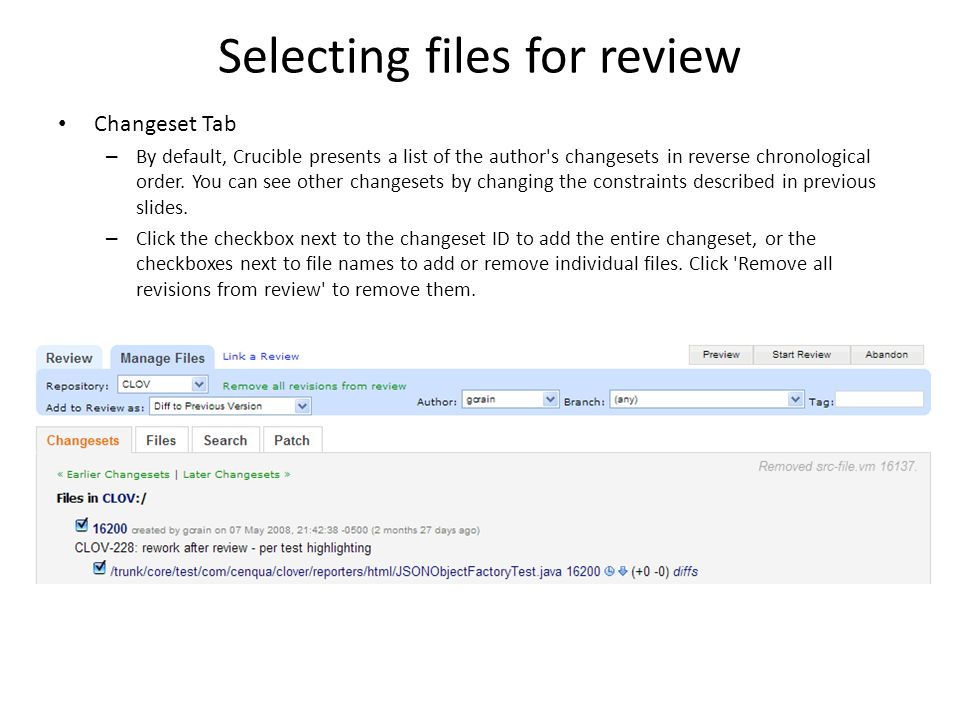 Selecting files for review