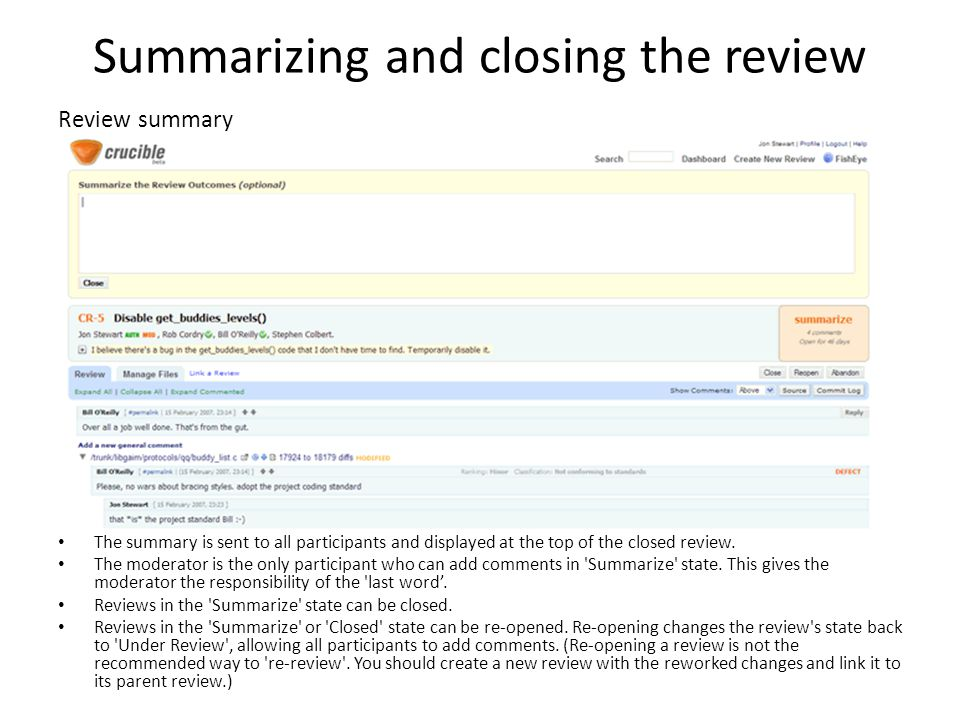 Summarizing and closing the review