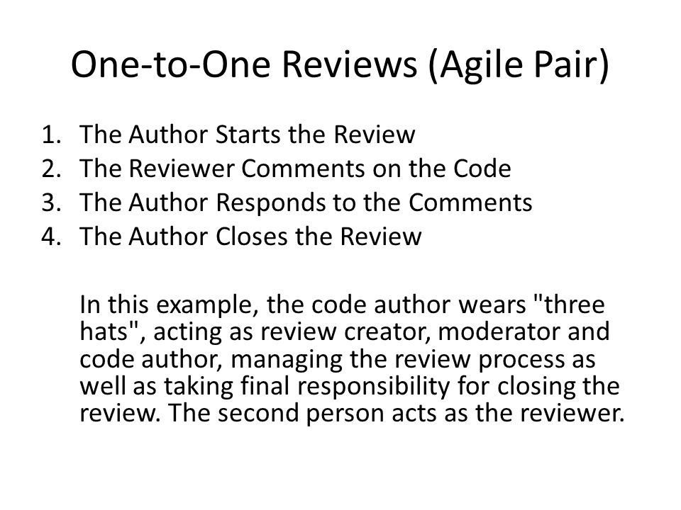 One-to-One Reviews (Agile Pair)