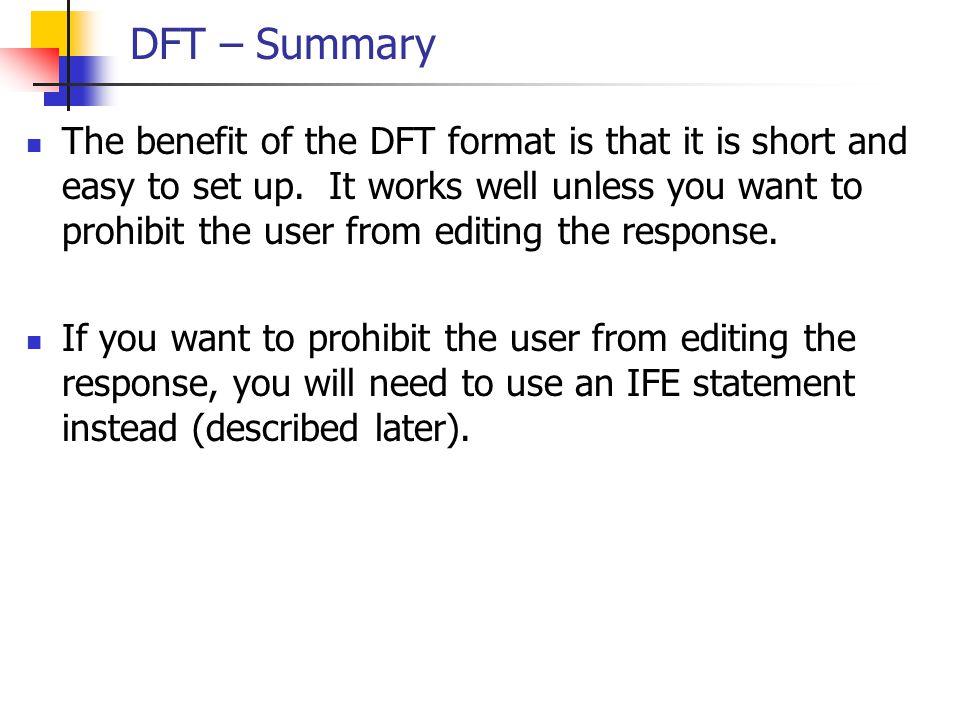 DFT – Summary