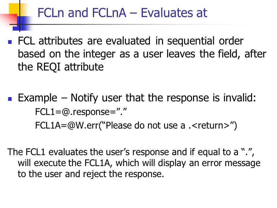 FCLn and FCLnA – Evaluates at