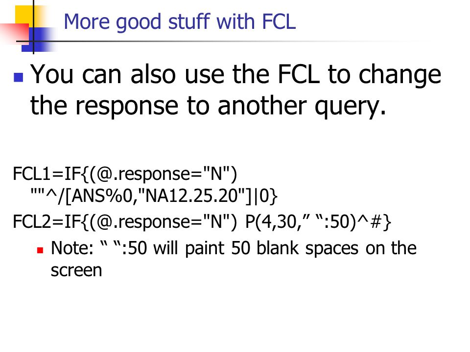 More good stuff with FCL