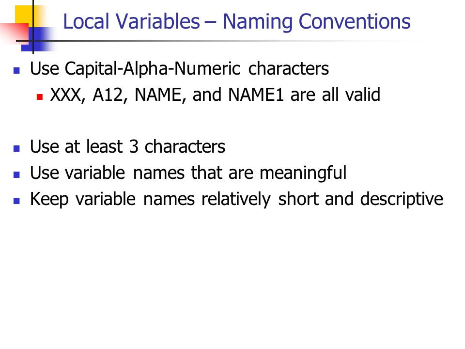 Local Variables – Naming Conventions