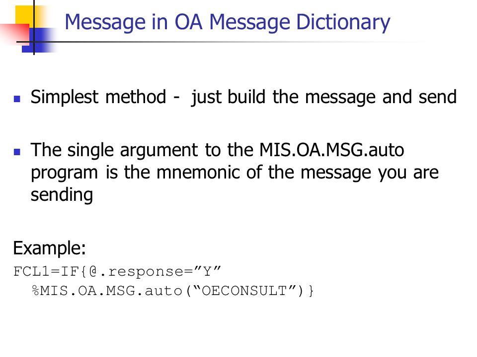 Message in OA Message Dictionary