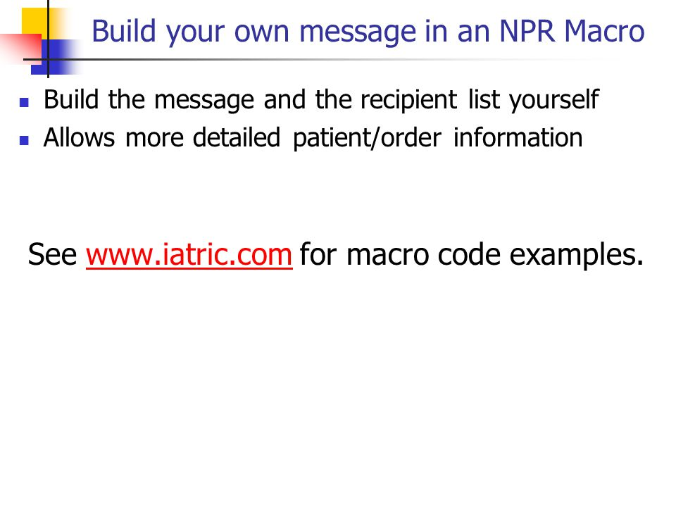 Build your own message in an NPR Macro
