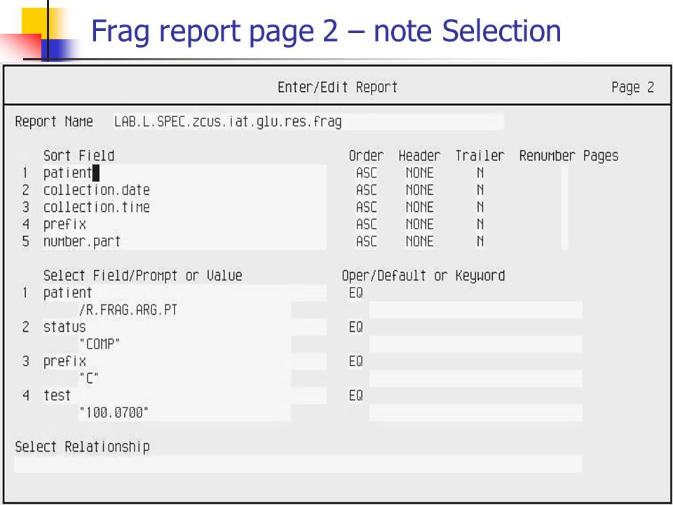 Frag report page 2 – note Selection