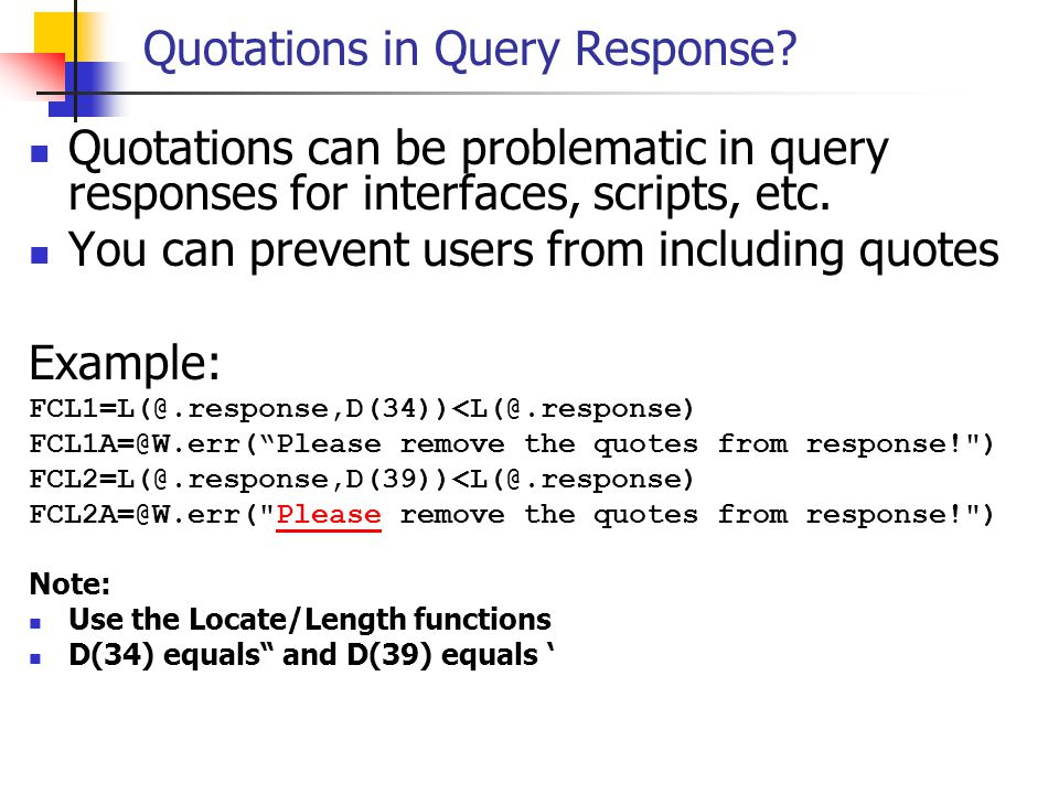 Quotations in Query Response
