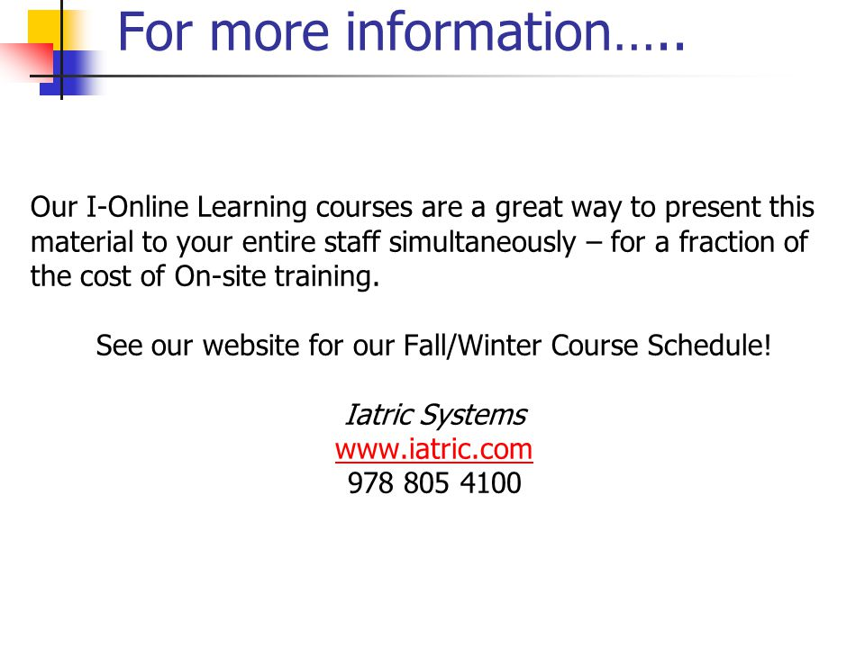 See our website for our Fall/Winter Course Schedule!