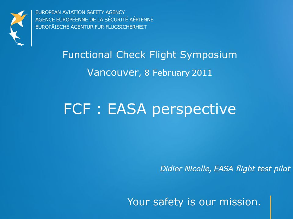 Didier Nicolle, EASA flight test pilot