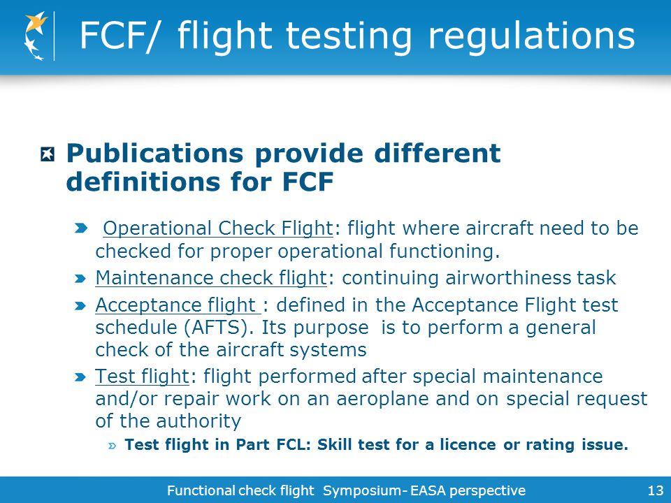 FCF/ flight testing regulations