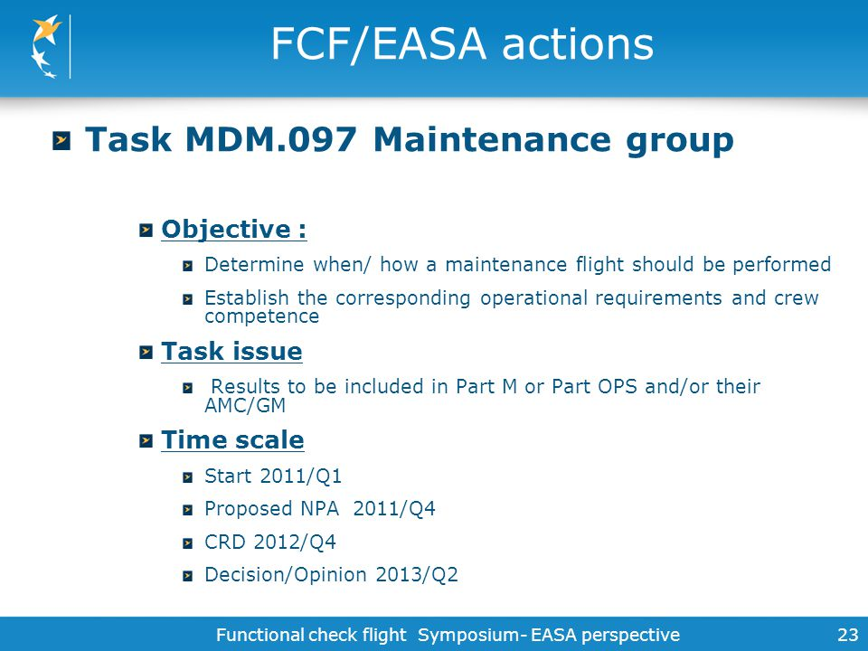 Functional check flight Symposium- EASA perspective