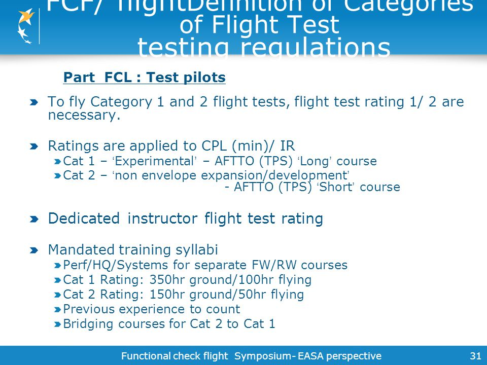 FCF/ flightDefinition of Categories of Flight Test testing regulations