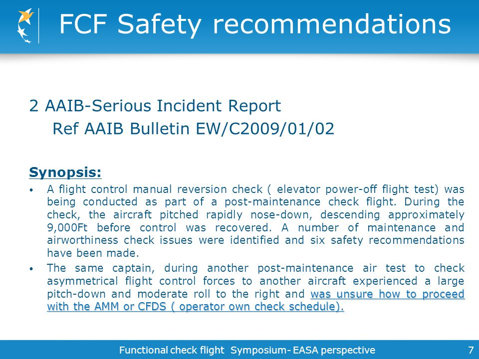 FCF Safety recommendations