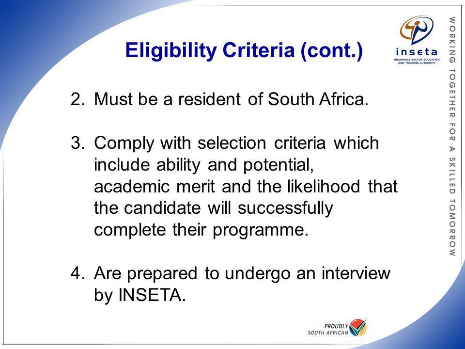 Eligibility Criteria (cont)