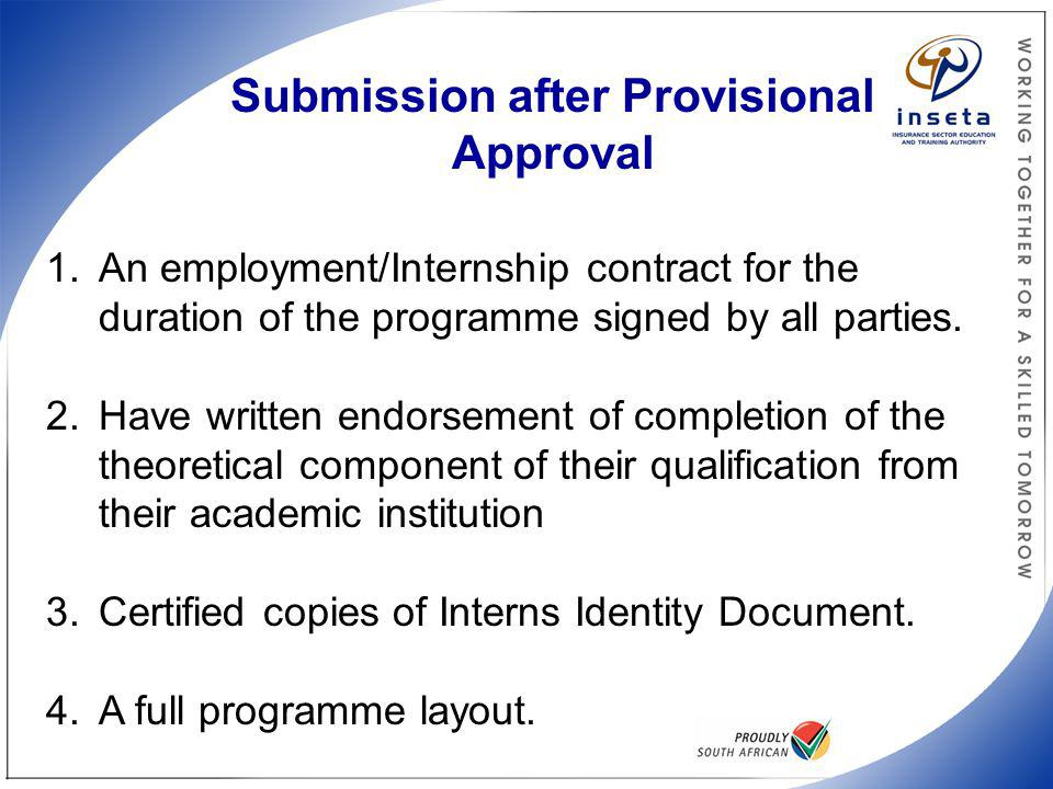 Submission after Provisional Approval