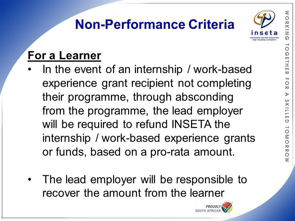 Non-performance Criteria
