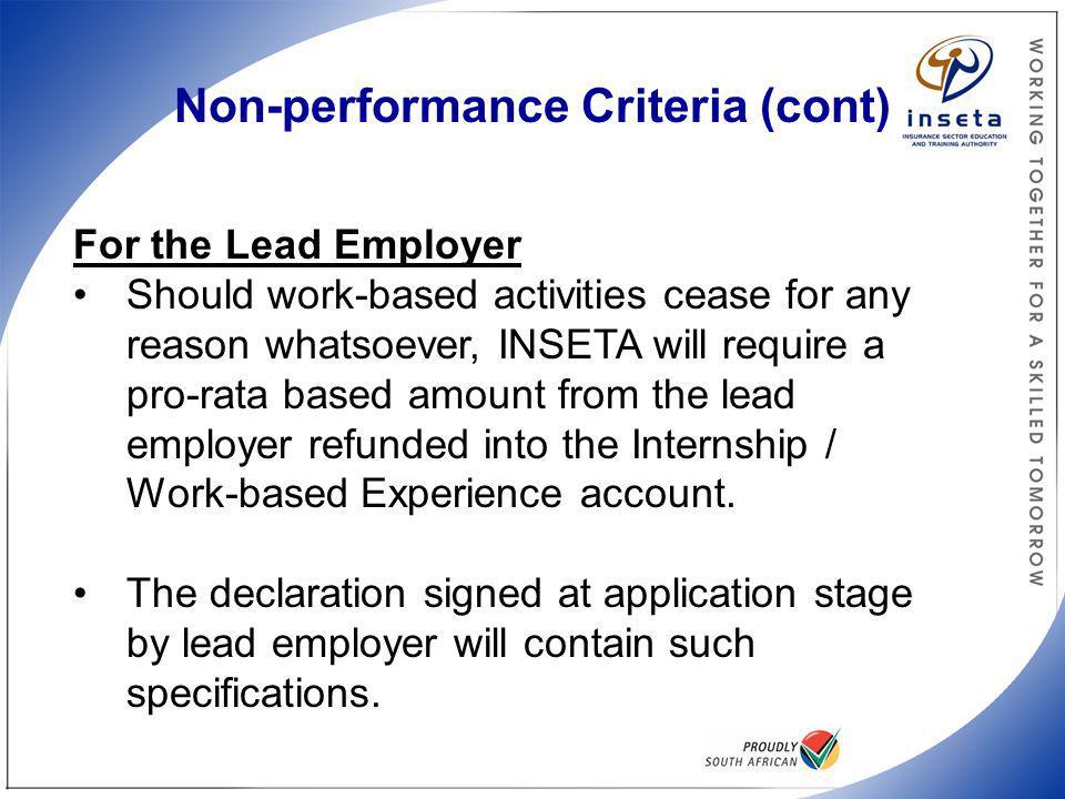 Non-performance Criteria (cont.)