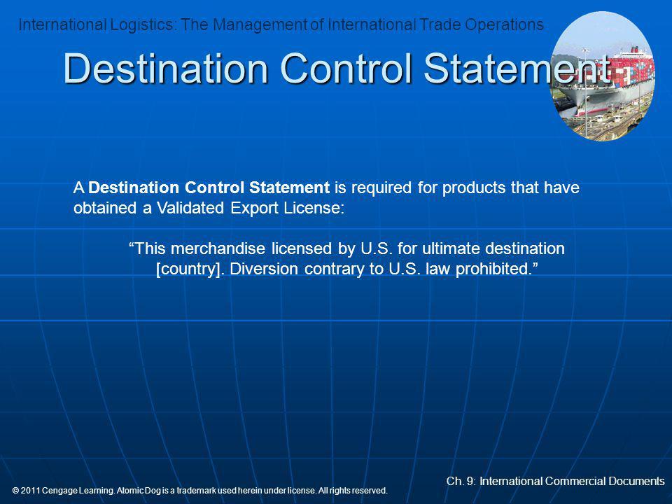 Destination Control Statement