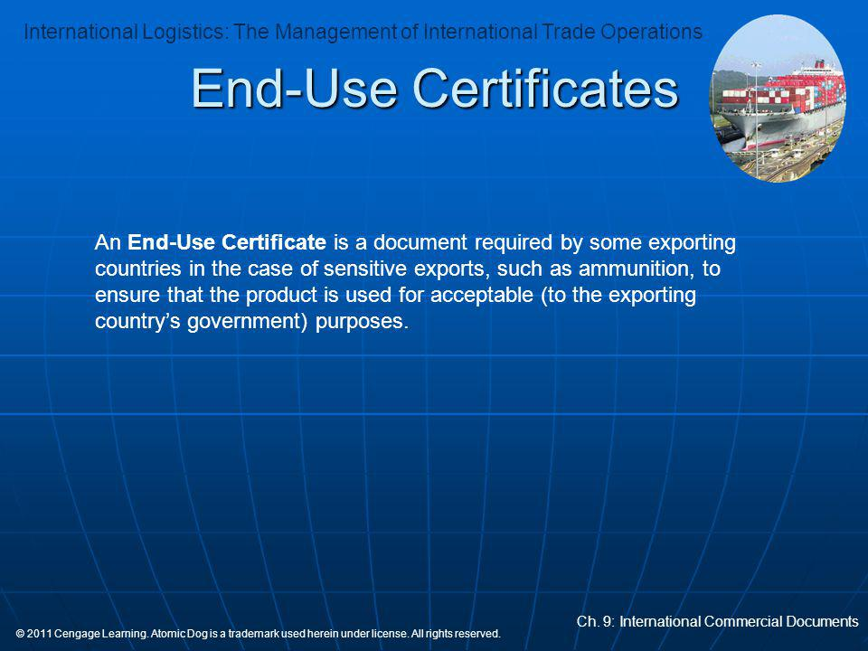 End-Use Certificates